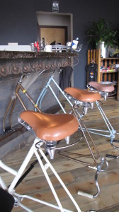 bicycle bar stools at the reCyclery