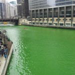 The Chicago River dyed green, March 16, 2013